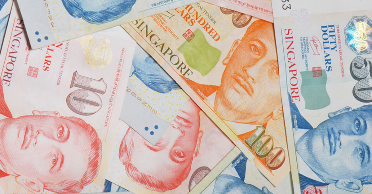Different denominations of the Singapore currency lay scattered, representing the act of borrowing money